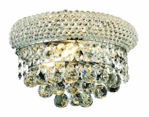 Elegant Lighting 1800W12C/RC Primo 6-Inch High 2-Light Wall Sconce, Chrome Finish with Crystal (Clear) Royal Cut RC Crystal - Crystal Chandelier Wall Sconces