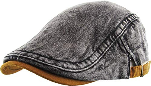 (KBM-210 BLK DENIM Denim Suede Peak Newsboy Ivy Cabbie Hat Cap)