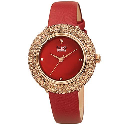 Burgi Swarovski Colored Crystal Watch - A Genuine Diamond Marker on a Slim Leather Strap Elegant Women's Wristwatch - Mothers Day Gift -BUR227BUR (Burgundy) Crystal Red Strap Watch