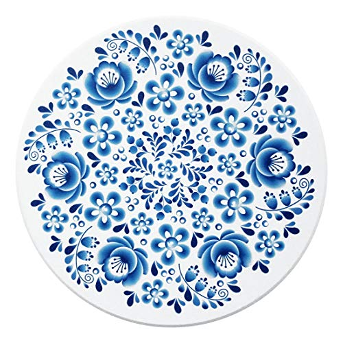 YOCEAN Coasters for Drinks - Absorbent Ceramic Stone Set of 6 Blue and white,Cork Base,Protect Your Furniture from Spills, Scratches, Water Rings and Damage
