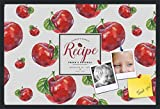 PinPix decorative pin cork bulletin board made from canvas, Recipe Board with Red Apples 36x24 Inches (Completed Size) and framed in Satin Black (PinPix-Group-36)