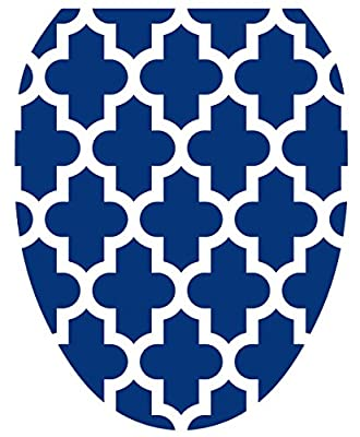 Toilet Tattoos, Toilet Seat Cover Decal, Navy Quatrefoil, Size Elongated