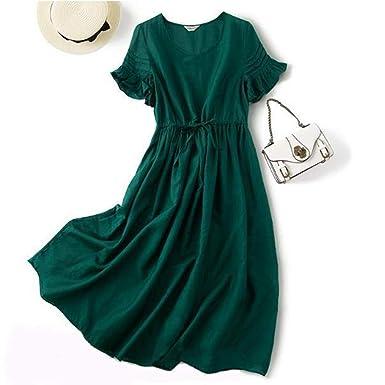 Saalising - Falda larga de seda con volantes, cuello en V, color ...
