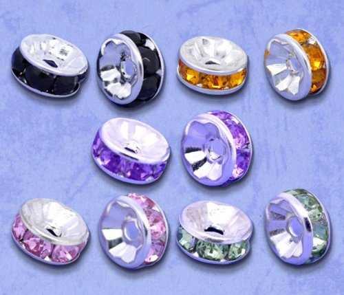 Housweety 100 Mixed SP Rhinestone Rondelle Spacers Beads (Rhinestone Rondelles)