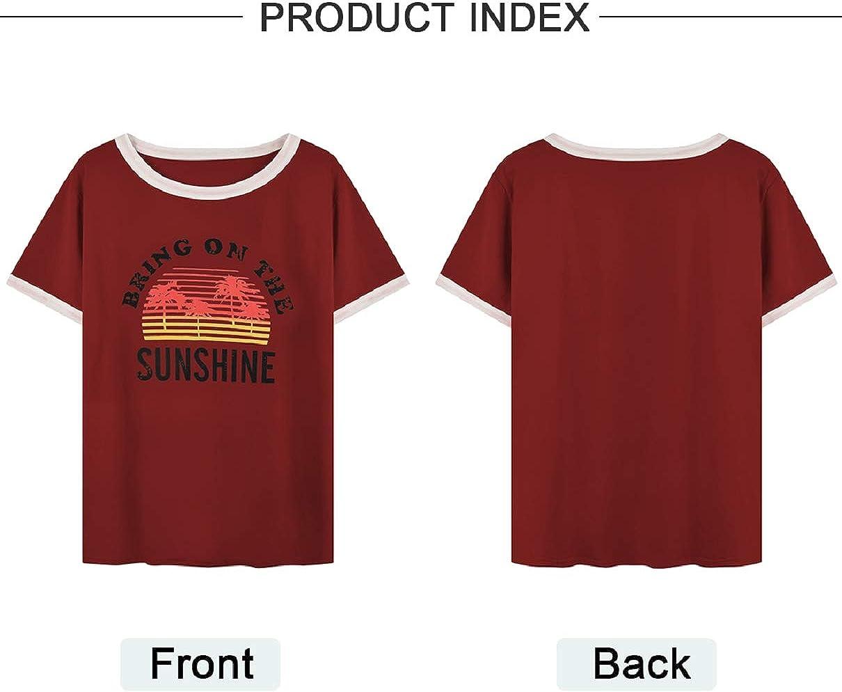 Voqeen T-Shirt Donna Camicetta Bluse Maglietta Donna Camicia Tee Top Manica Corta Estive Casual Stampa Girocollo Splicing Sciolto Pullover Top