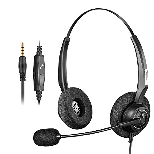 Arama Binaural Headset with Noise Canceling Boom Mic and Adjustable Fit Headband for iPhone Samsung Blackberry LG Huawei HTC ZTE Mobile Phone and Smartphones with 3.5mm Jack (A200MP-D) (Boom Home Phone Headset)