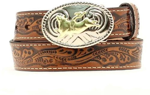 Nocona Boys' Floral Leather Belt Brown 18