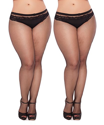 Womem's Sexy Black Fishnet Tights Plus Size Net Pantyhose Stockings (Black #1, Plus Size)