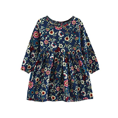 Navy Blue Floral Pattern (Sunbona Toddler Baby Girls Princess Autumn Long Sleeve Floral Dress Casual Party Outfits Kids Cloths (3-4T, Navy))