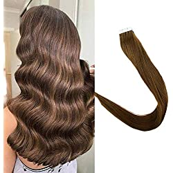 "Full Shine Remy Straight Tape Hair Extensions 100% Real Hair Color #5A 18"" Tape In Human Hair Extension Seamless Pu Tape Hair 50g 20pcs Straight Brazilian Hair"