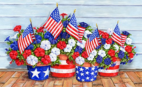 Toland Home Garden Patriotic Pansies Indoor/Outdoor Standard Mat, 18