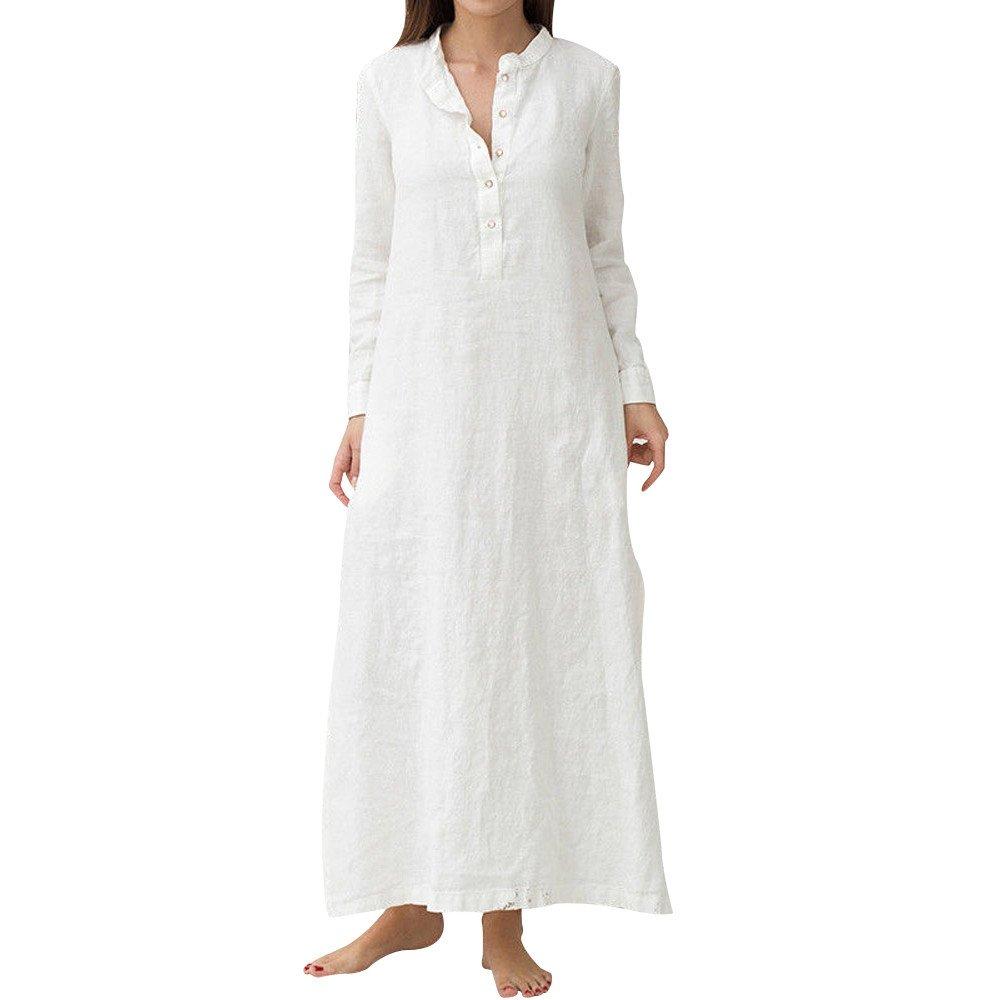 Clearance!! Womens Dresses,Kaftan Cotton Linen Long Sleeve Plain Casual Elegant Oversized Maxi Shirt Dress Plus Size S-3XL (White, Medium/US:6)