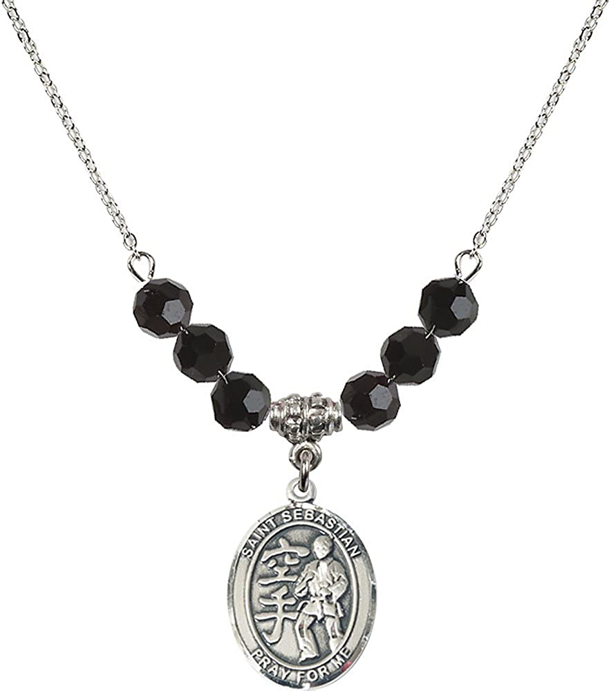 18-Inch Rhodium Plated Necklace with 6mm Jet Birthstone Beads and Sterling Silver Saint Sebastian//Karate Charm.