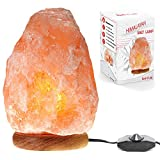 Betus Natural Crystal Himalayan Salt Lamp Hand Carved on Wood Base with Dimmable Cord and Light Bulb - 6 to 7 Inches Height, 3 to 5 Pounds