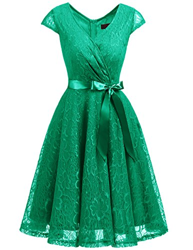 DRESSTELLS Women's Bridesmaid V Neck Ruched Dress Floral Lace Cocktail Dresses with Belt Green M]()