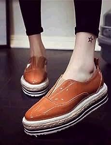 ZQ gyht Zapatos de mujer-Plataforma-Comfort-Mocasines-Exterior / Deporte-Semicuero-Negro / Marrón , brown-us8 / eu39 / uk6 / cn39 , brown-us8 / eu39 / uk6 / cn39