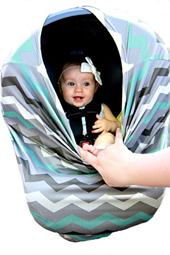 Wobble Baby Nursing Cover and Car seat canopy, for breastfeeding and baby protection, Hypoallergenic and with UV protection, (Grey Paradise Blue) by Wobble Baby (Image #5)
