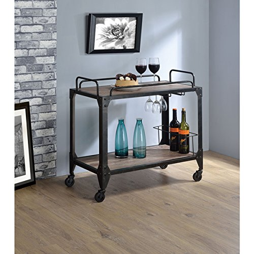 Caitlin Black Metal/Rustic Oak Serving Cart, has space for wine bottles and glasses (Origami Rolling Trolley Table compare prices)