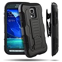 Galaxy S5 Active Case, Kuteck Black Impact Hybrid Hard Gray Silicone Case Box Rugged Cover Stand For Samsung Galaxy S5 Active G870 with Stylus