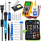 Soldering Kit with Digital Multimeter and 9V Battery, 60W Soldering Gun Kit with Switch ON/OFF, Soldering Iron Kit 200 to 450C Adjustable Temperature Controlled Including Solder Iron/ Soldering Stand/ Desoldering Pump/ Soldering Tips/ Screwdriver etc. Welding Tools For Circuit Board Repair and Electronic DIY