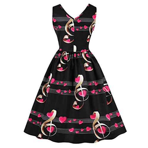 Evening Dress Musiacal Black Printed Dress Vintage Tian Women Lady Sleeveless Love Heart Notes G Printing Party Dress ZqAPxTwBA