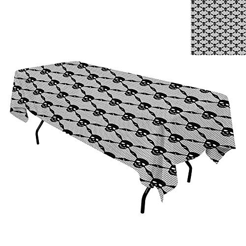 Gothic,Tablecloth for Kitchen Dining Tabletop,Halloween Horror Theme Spooky Black Skulls Checkered Pattern with Skeleton Bones,for Dining Room,W60 x L84 Inch Black White