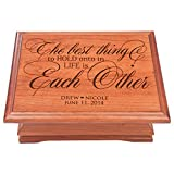 Personalized Jewelry Storage Organizer chest box Anniversary Gift ideas for couple ,for wife Cherry wood Keepsake Box for Her or Him, The Best Thing to hold Onto in Life is Each Other Made in USA