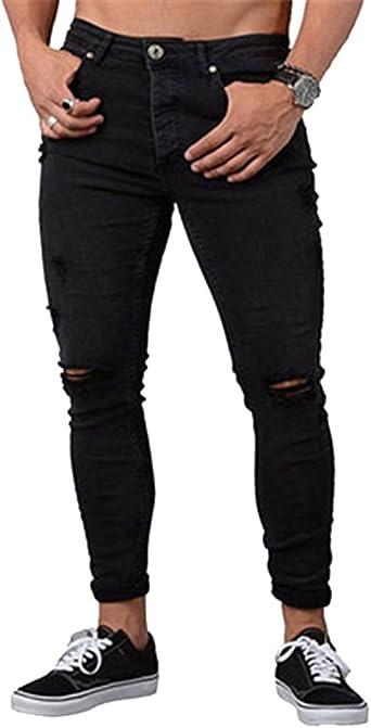 Skinny Vaqueros Hombre Fashion Slim Fit Pantalones Rotos