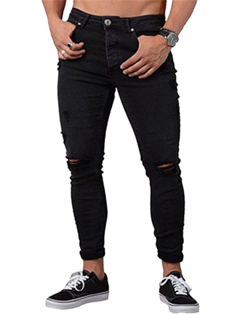 Jeans Strappati Ginocchia Uomo Skinny Elasticizzati Pantaloni Casual Slim Fit