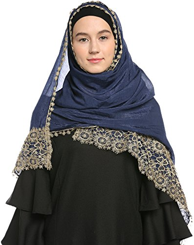 Ababalaya Lace Decorated Wedding Hijab Islamic Hijab, Navy Blue