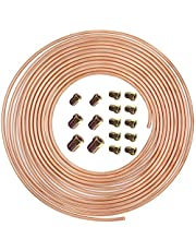 25 ft 3/16 in Copper-Nickel Coil Brake Line Complete Replacement Brake or Fuel Tubing Kit (Includes 16 Fittings), Easy to hand bend (.028) Wall Thickness