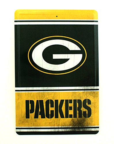 Tin Packers Nfl Green Bay (Pro Specialties Group NFL Green Bay Packers Team Logo Tin Sign, 8 x 12-inches, Yellow)