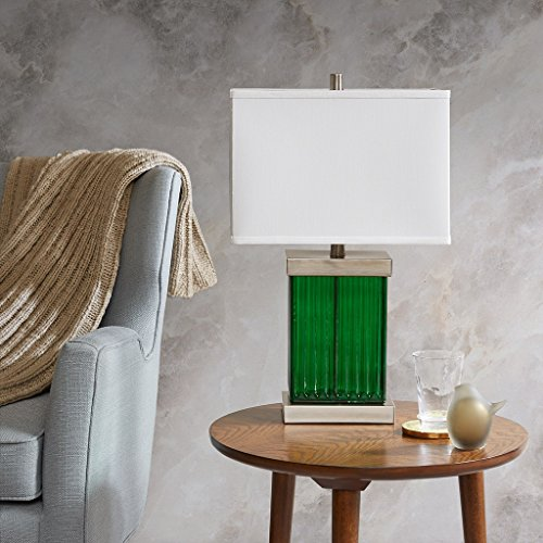 Urban Living Torchiere (Mid Century Emerald Green Stand Table with Silver Base Accent and Soft Lamp Shade - Includes Modhaus Living Pen)
