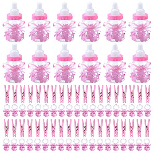 Elcoho 12 Pack Candy Bottles 50 Pack Acrylic Mini Pacifiers and 50 Pack Pink Mini Clothespin for Baby Shower Party Favors Decorations