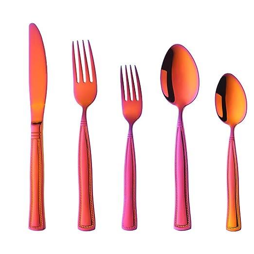 Cuberterias 5 Piezas (Cuchillos para Carne, Mesa Tenedor, Fruta ...