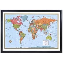 32x50 Rand McNally World Signature Push-Pin Travel Wall Map Foam Board Mounted or Framed (Black Framed)