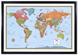 32x50 Rand McNally World Signature Push-Pin Travel Wall Map Foam Board Mounted or Framed (Black Framed)