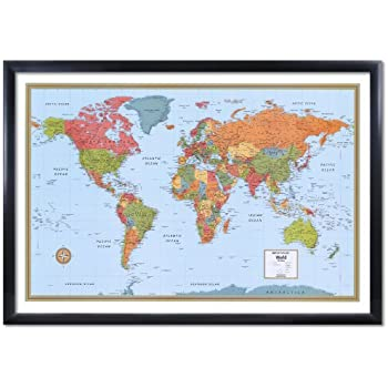 32x50 rand mcnally world signature push pin travel wall map foam board mounted or framed black framed