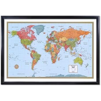 Amazon 32x50 rand mcnally world classic wall map framed rand mcnally world wall map m series 32x50 framed edition gumiabroncs Images