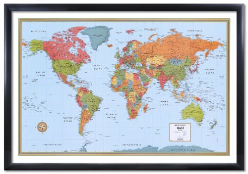 32x50 Rand McNally World Signature Push-Pin Travel Wall Map Foam Board Mounted or Framed (Black Framed) by Swiftmaps