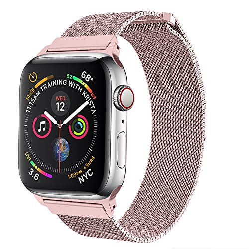 Gold Buckle Mesh (amBand Compatible Apple Watch Band 38mm 40mm, Stainless Steel Mesh Milanese Replacement Wristband Compatible iWatch Series 4/3/2/1 Rose Gold)
