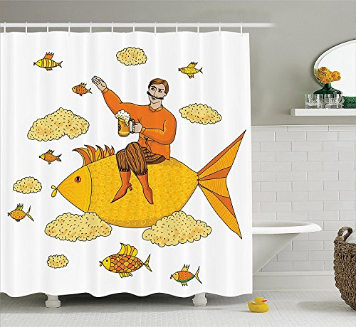[Manly Decor Collection Man Holding Big Glass of Beer Floating on Fish Cartoon Character Foam Clouds Imaginary Art Polyester Fabric Bathroom Shower Curtain Set with Hooks] (Manly Halloween Costumes)