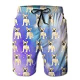 French Bulldog Lovely Men's Summer Beach Quick-Dry Surf Swim Trunks Boardshorts Cargo Pants