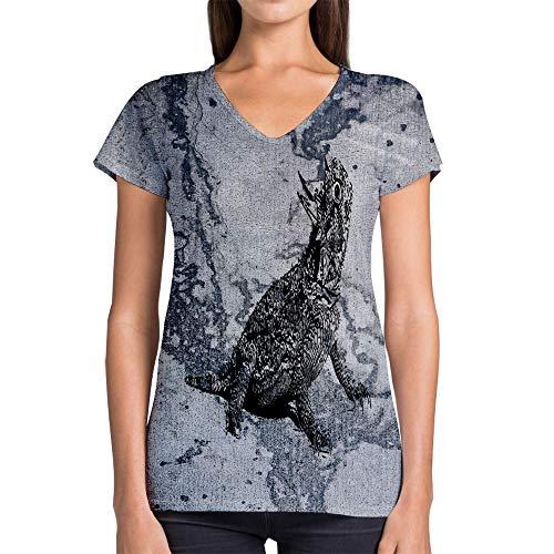 (Idakoos Animal Texas Horned Lizard 3D - Women V-Neck T-Shirt Polyester Novelty)