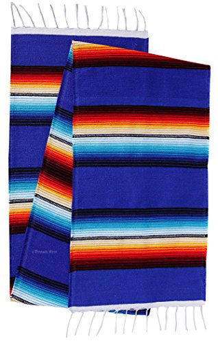 Threads West Beautiful Bright Mexican Style Table Runner Saltillo Serape Colorful Striped Sarape 72