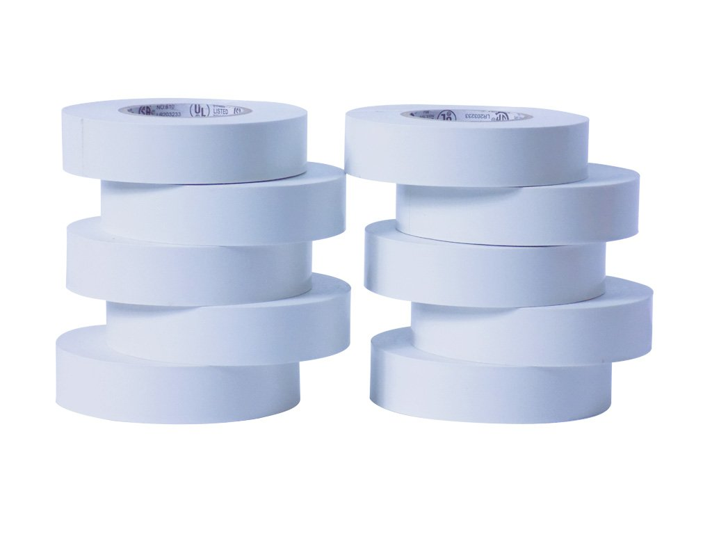 WOD EL-766AW Professional Grade General Purpose White Electrical Tape UL/CSA listed core. Utility Vinyl Rubber Adhesive Electrical Tape: 3/4in. X 66ft. - Use At No More Than 600V & 176F (Pack of 10)