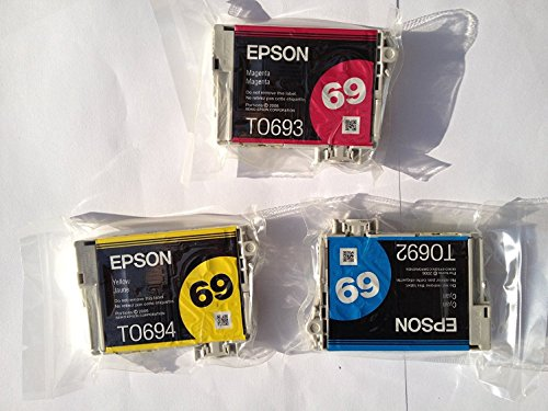 3 X Genuine Epson 69 Color Ink Cartridges T069 T0692 T0693 T0694 1 Cyan/1 Magenta/1 Yellow (Epson 69 Ink Cyan)