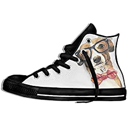 NAFQ Dog Puppy Illustration Classic Canvas Sneakers Shoes Lace Up Unisex High Top