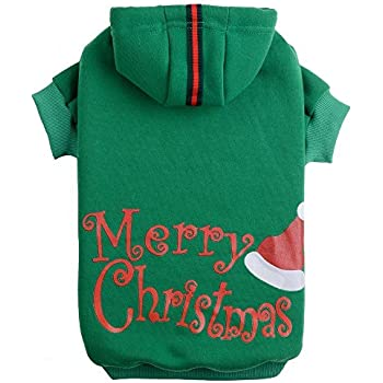 Christmas Dog Hoodie Sweater - Cute Shirt Pet Sweatshirt Puppy Clothes Printed Style Green Small