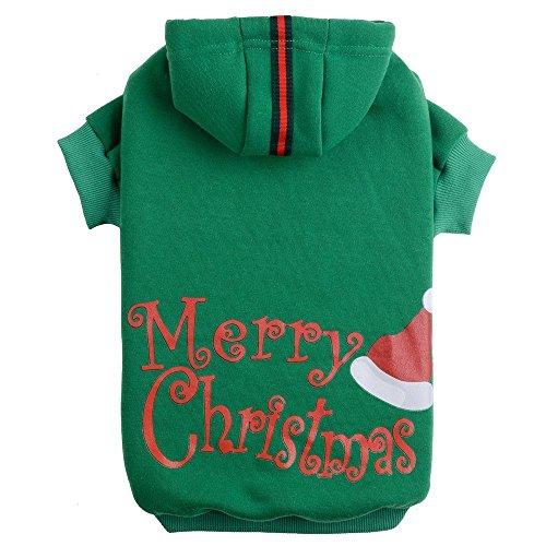 Christmas Dogs Sweatshirt - PUPTECK Christmas Dog Hoodie Sweater - Cute Shirt Pet Sweatshirt Puppy Clothes Printed Style Green Small